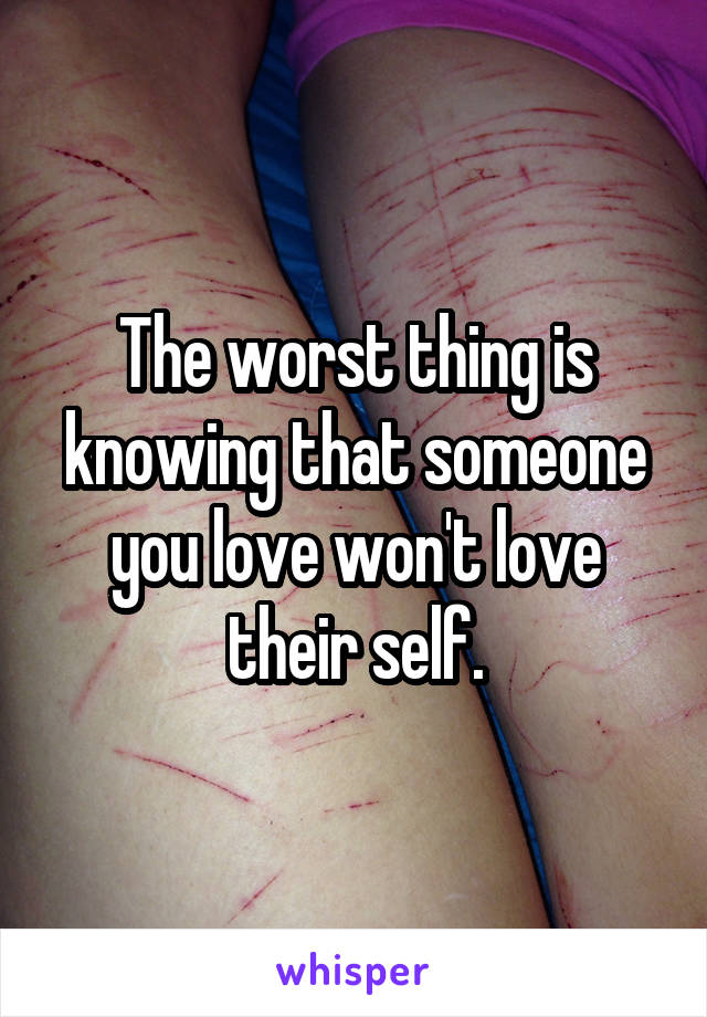 The worst thing is knowing that someone you love won't love their self.