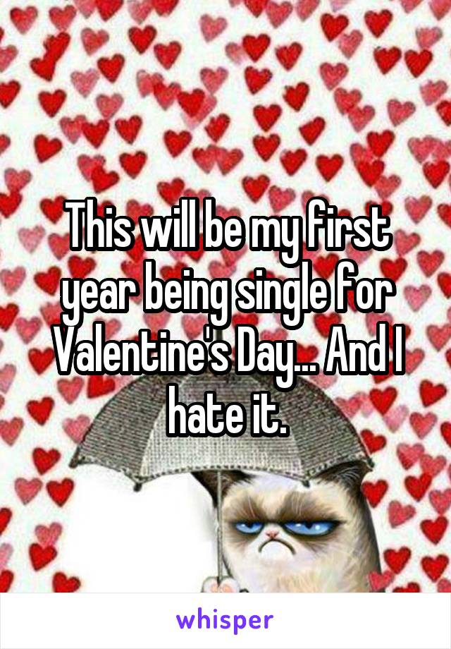This will be my first year being single for Valentine's Day... And I hate it.