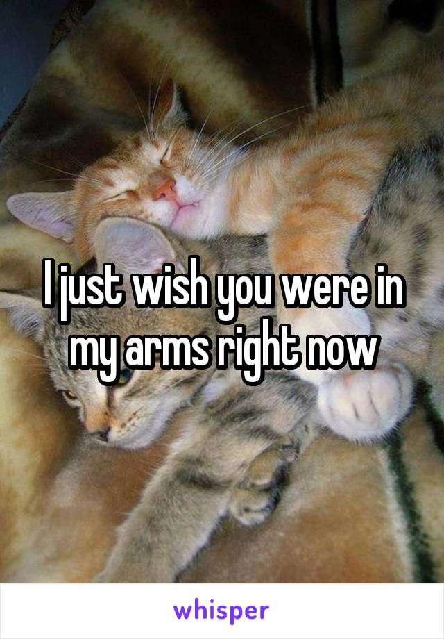 I just wish you were in my arms right now