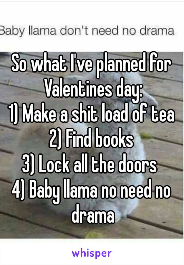 So what I've planned for Valentines day: 1) Make a shit load of tea 2) Find books 3) Lock all the doors  4) Baby llama no need no drama