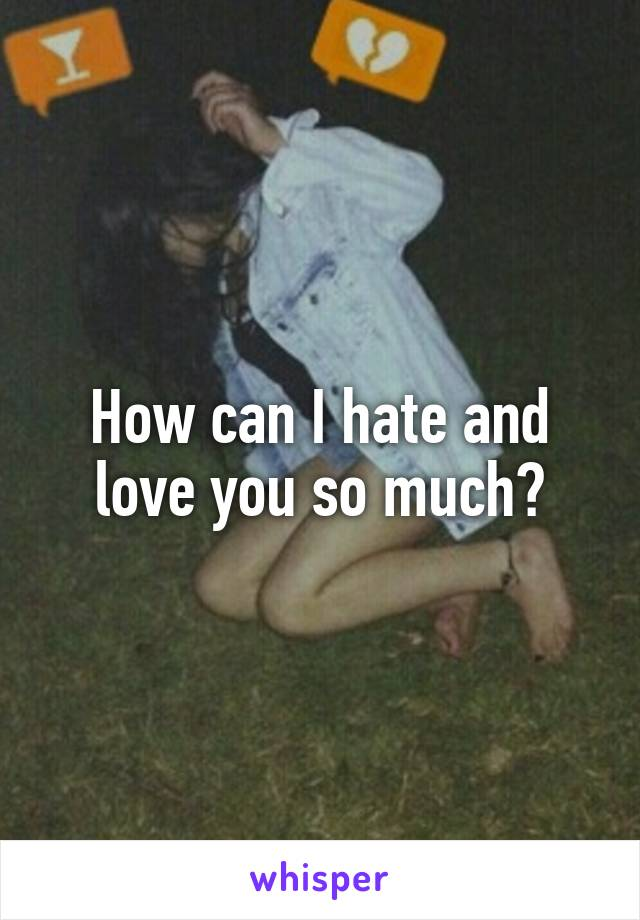 How can I hate and love you so much?