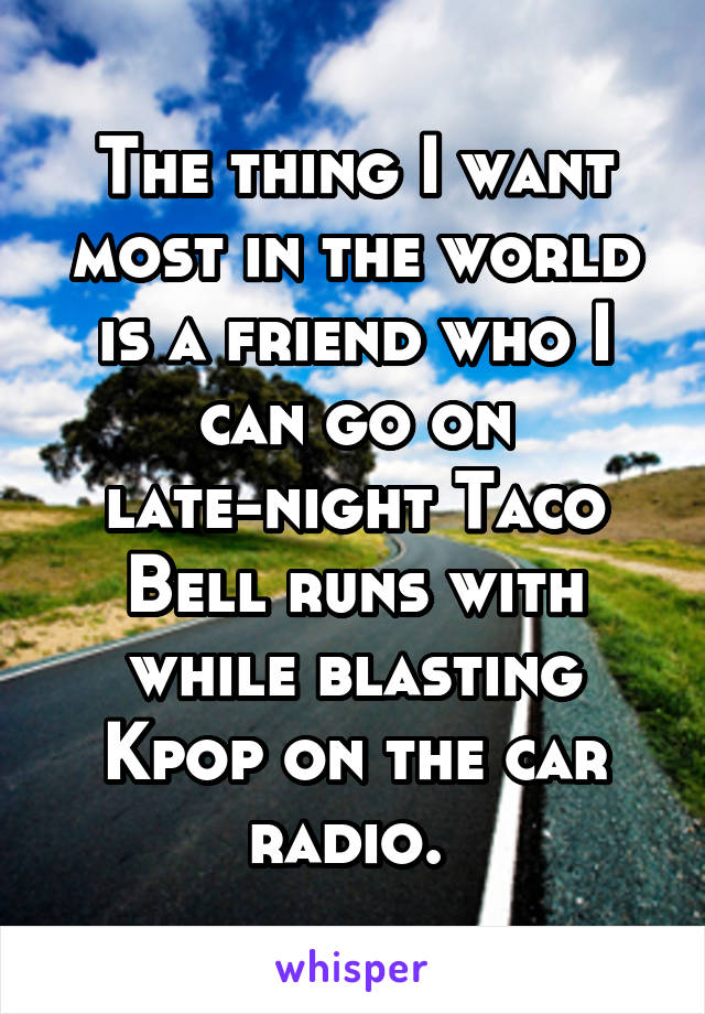 The thing I want most in the world is a friend who I can go on late-night Taco Bell runs with while blasting Kpop on the car radio.