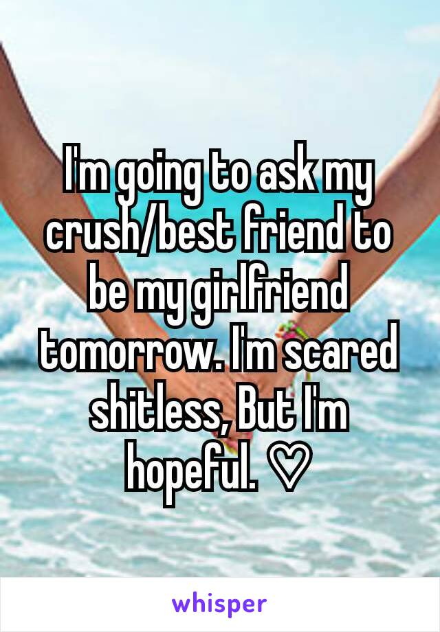 I'm going to ask my crush/best friend to be my girlfriend tomorrow. I'm scared shitless, But I'm hopeful. ♡