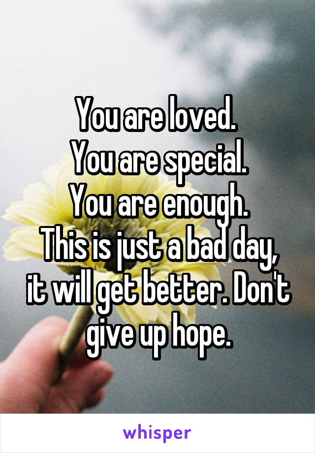 You are loved.  You are special. You are enough. This is just a bad day, it will get better. Don't give up hope.