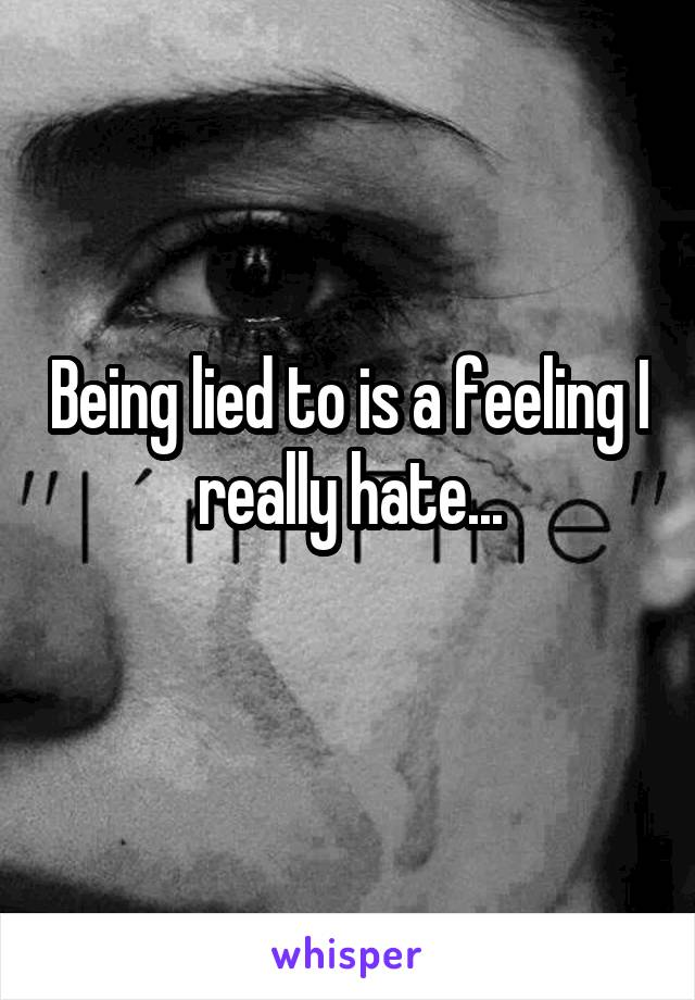 Being lied to is a feeling I really hate...