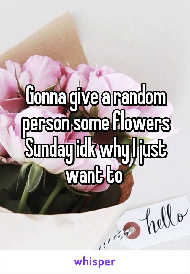 Gonna give a random person some flowers Sunday idk why I just want to