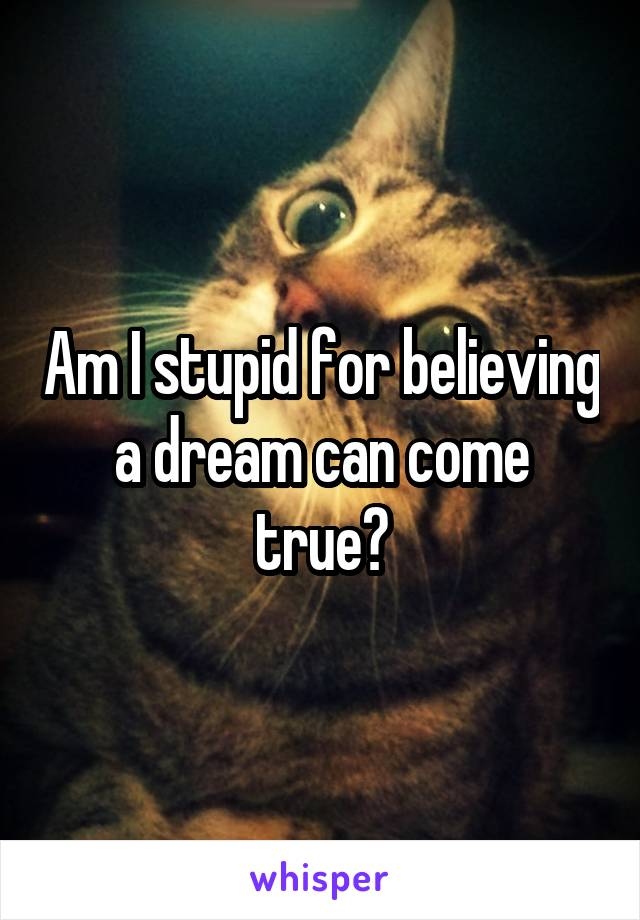 Am I stupid for believing a dream can come true?