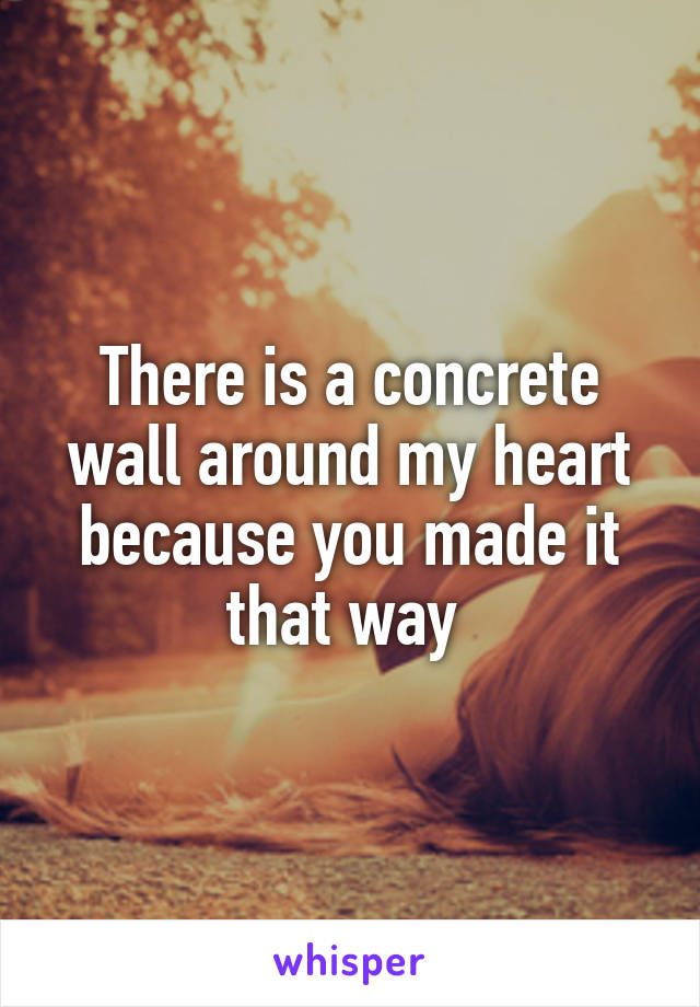 There is a concrete wall around my heart because you made it that way