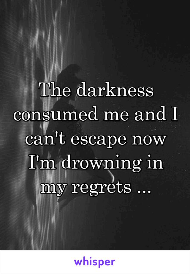 The darkness consumed me and I can't escape now I'm drowning in my regrets ...