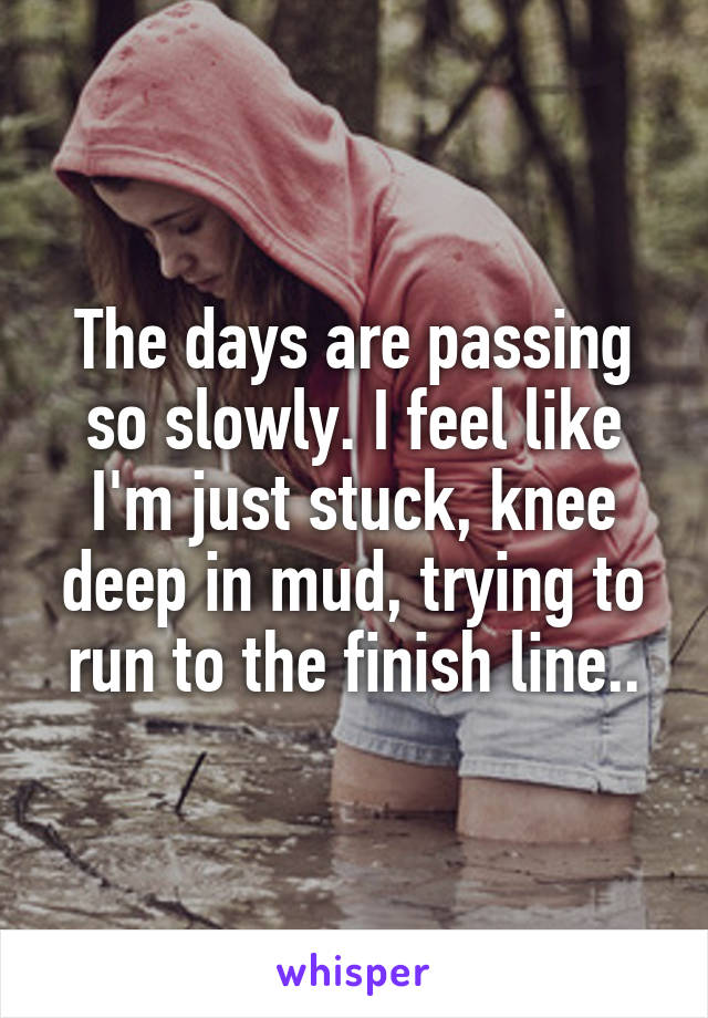 The days are passing so slowly. I feel like I'm just stuck, knee deep in mud, trying to run to the finish line..