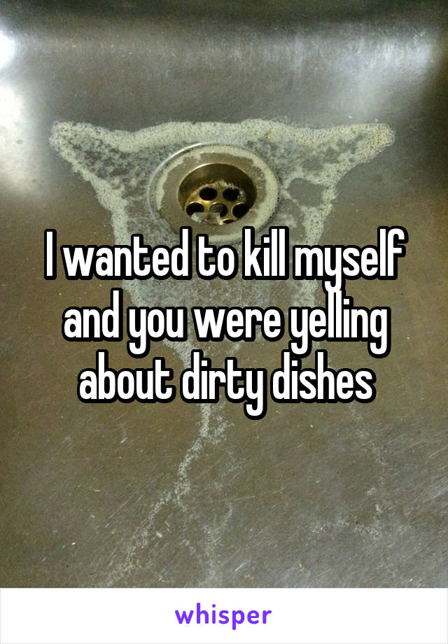 I wanted to kill myself and you were yelling about dirty dishes
