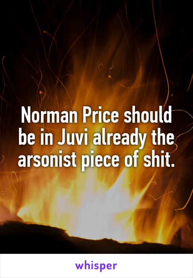 Norman Price should be in Juvi already the arsonist piece of shit.