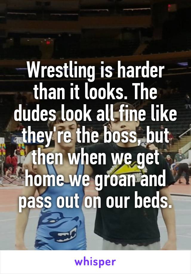 Wrestling is harder than it looks. The dudes look all fine like they're the boss, but then when we get home we groan and pass out on our beds.