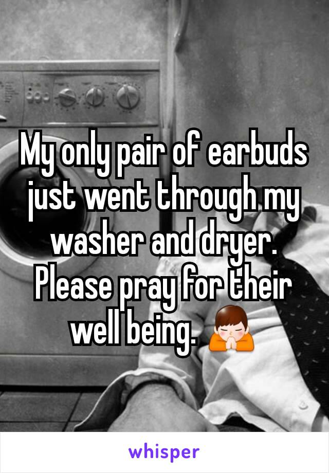 My only pair of earbuds just went through my washer and dryer. Please pray for their well being. 🙏