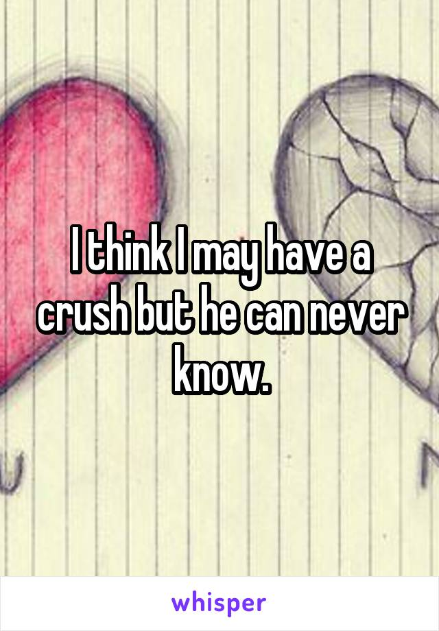I think I may have a crush but he can never know.