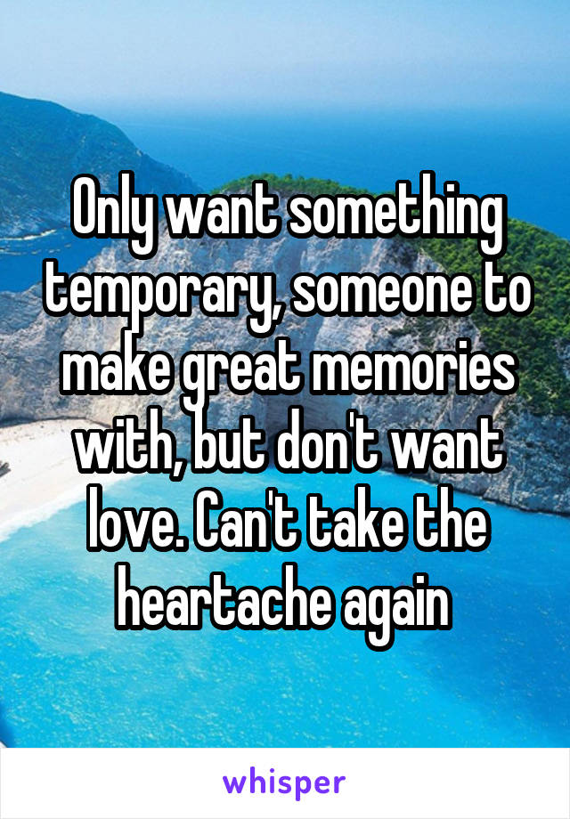 Only want something temporary, someone to make great memories with, but don't want love. Can't take the heartache again