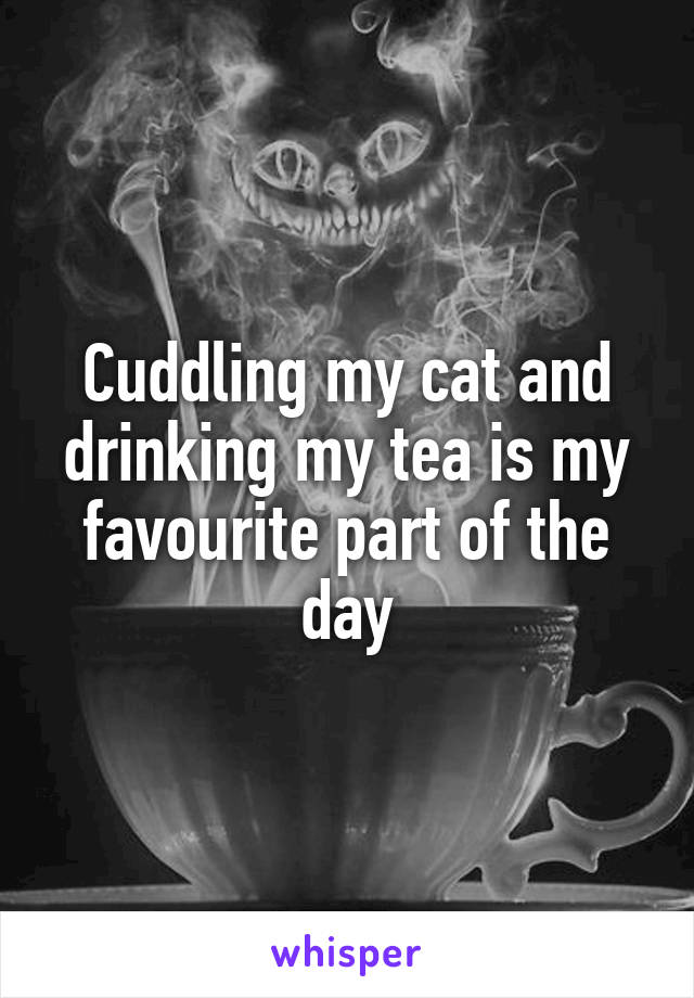 Cuddling my cat and drinking my tea is my favourite part of the day