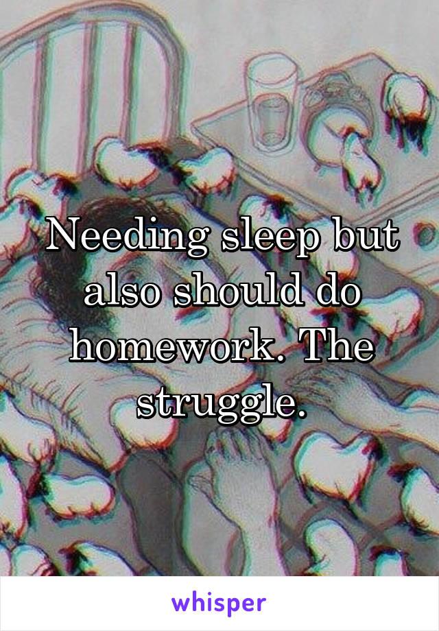 Needing sleep but also should do homework. The struggle.