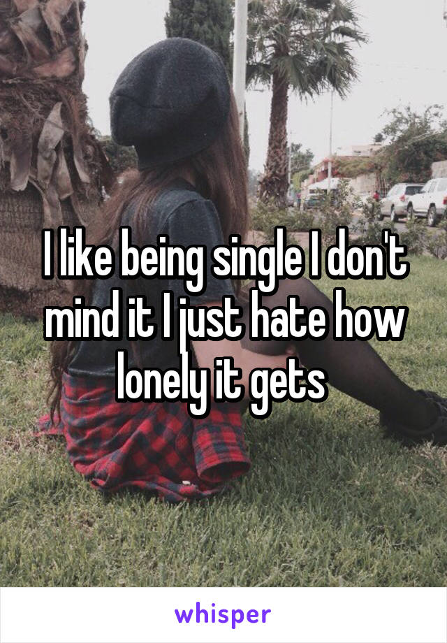 I like being single I don't mind it I just hate how lonely it gets