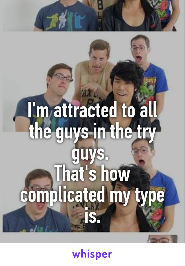 I'm attracted to all the guys in the try guys.  That's how complicated my type is.