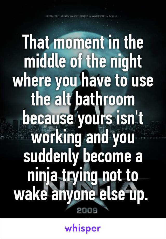 That moment in the middle of the night where you have to use the alt bathroom because yours isn't working and you suddenly become a ninja trying not to wake anyone else up.