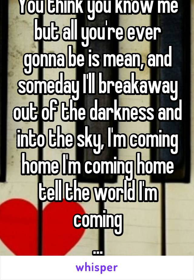 You think you know me but all you're ever gonna be is mean, and someday I'll breakaway out of the darkness and into the sky, I'm coming home I'm coming home tell the world I'm coming ... Home