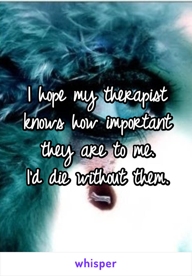 I hope my therapist knows how important they are to me. I'd die without them.