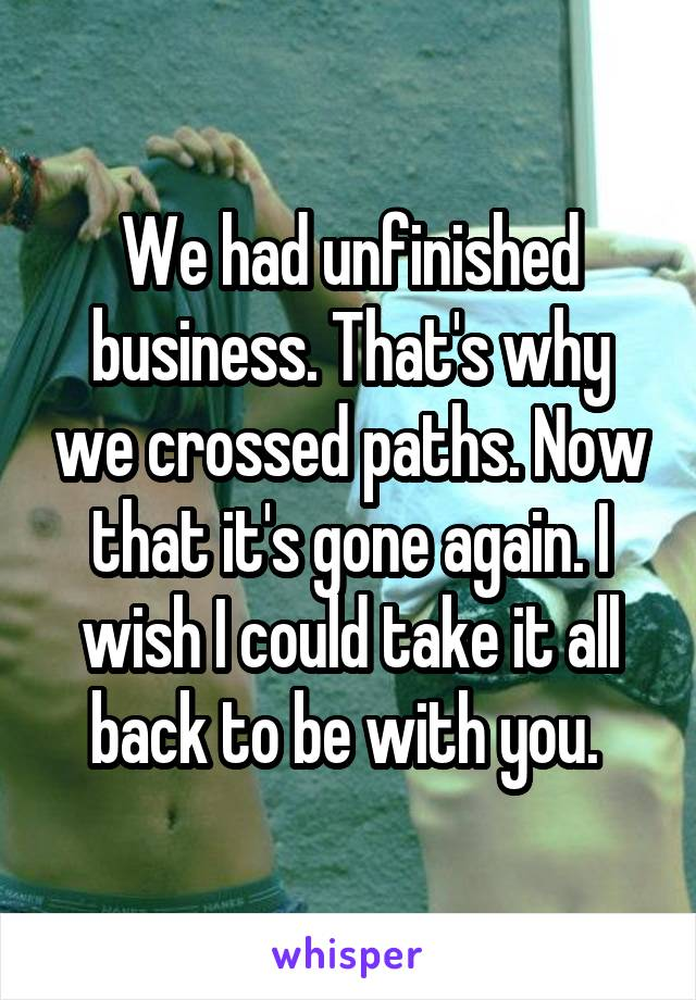 We had unfinished business. That's why we crossed paths. Now that it's gone again. I wish I could take it all back to be with you.