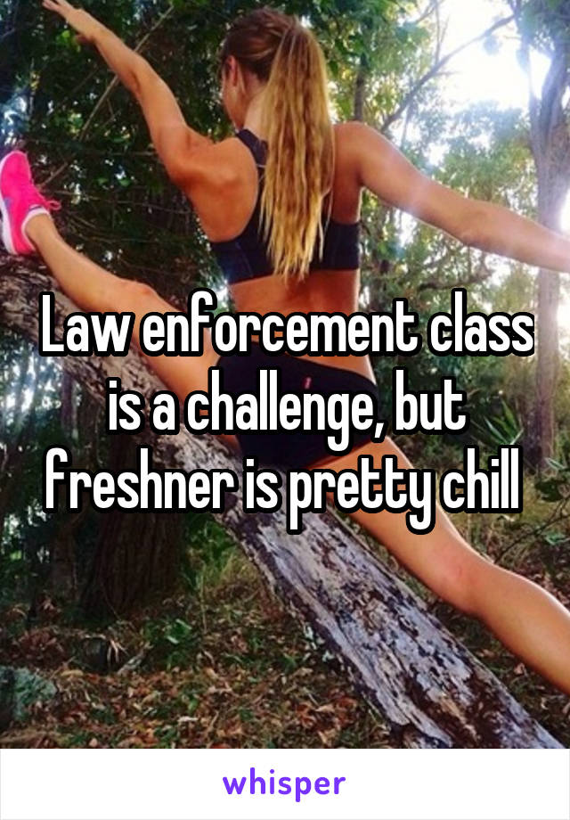 Law enforcement class is a challenge, but freshner is pretty chill