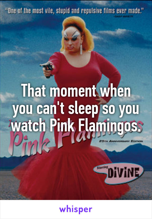 That moment when you can't sleep so you watch Pink Flamingos.