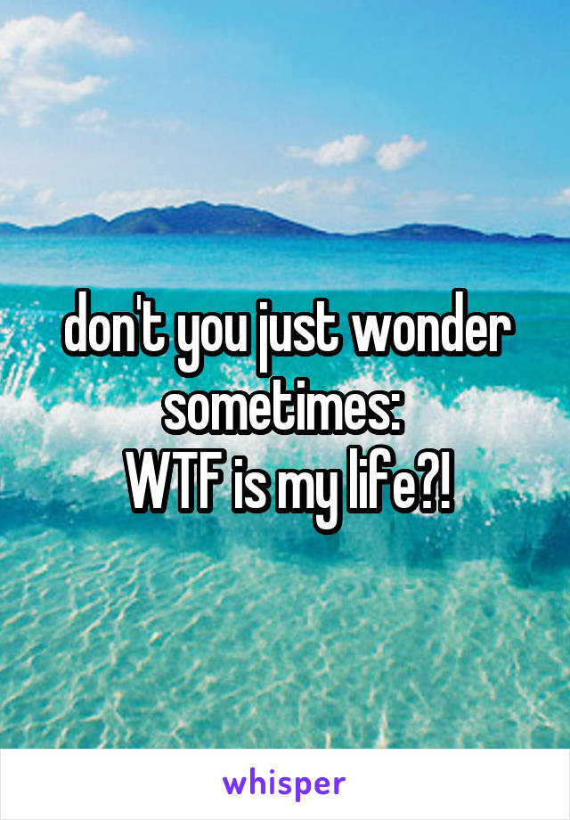 don't you just wonder sometimes:  WTF is my life?!