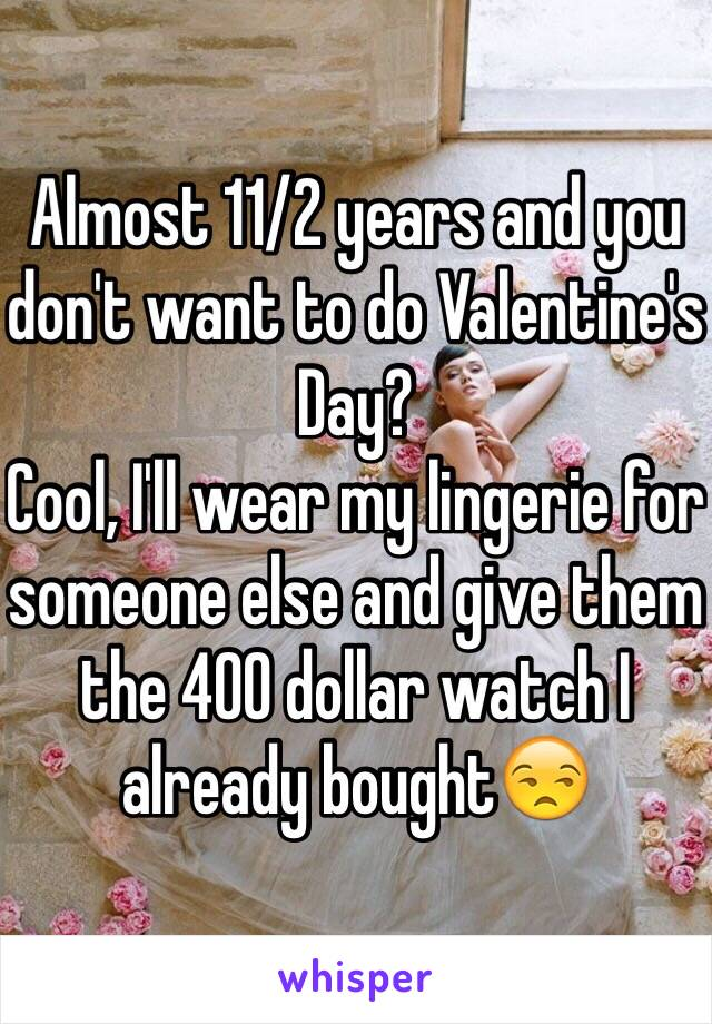 Almost 11/2 years and you don't want to do Valentine's Day?  Cool, I'll wear my lingerie for someone else and give them the 400 dollar watch I already bought😒