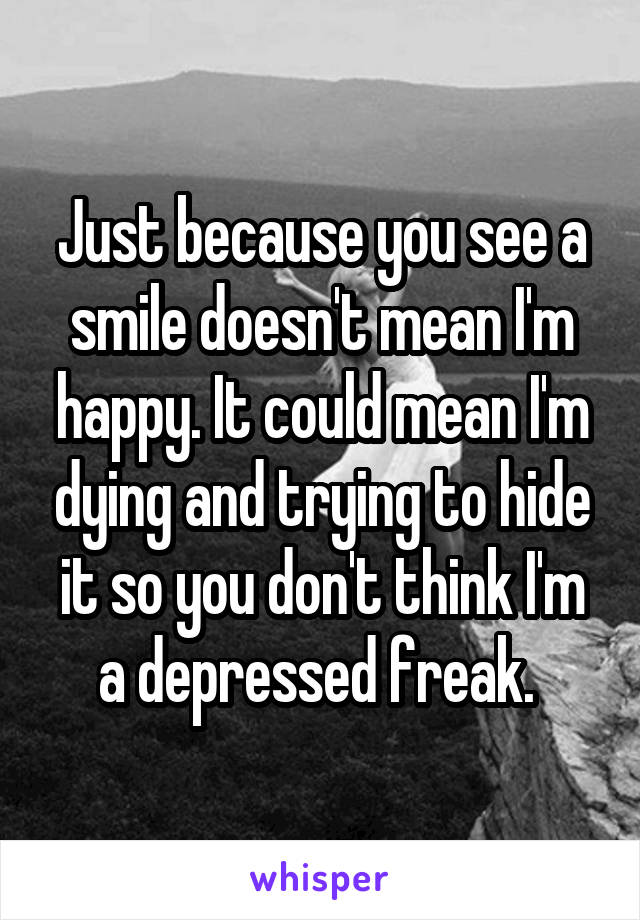 Just because you see a smile doesn't mean I'm happy. It could mean I'm dying and trying to hide it so you don't think I'm a depressed freak.