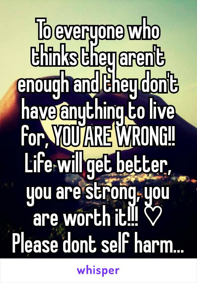 To everyone who thinks they aren't enough and they don't have anything to live for, YOU ARE WRONG!! Life will get better, you are strong, you are worth it!!! ♡ Please dont self harm...
