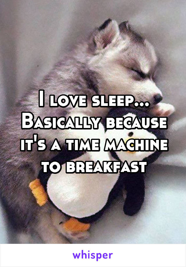 I love sleep... Basically because it's a time machine to breakfast