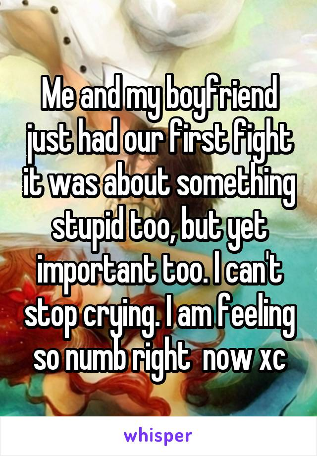Me and my boyfriend just had our first fight it was about something stupid too, but yet important too. I can't stop crying. I am feeling so numb right  now xc