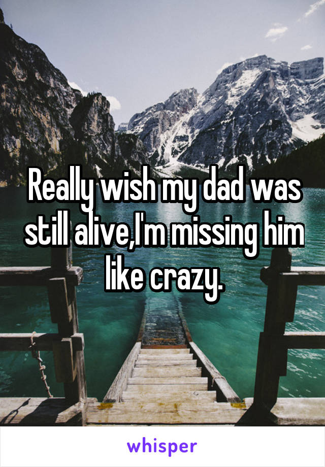 Really wish my dad was still alive,I'm missing him like crazy.
