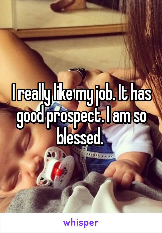 I really like my job. It has good prospect. I am so blessed.