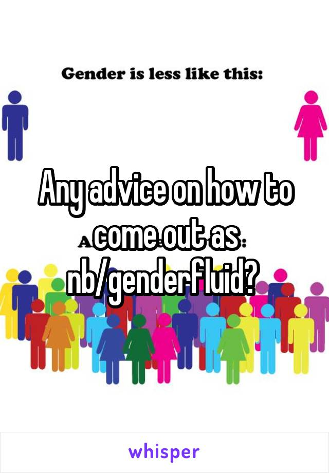 Any advice on how to come out as nb/genderfluid?