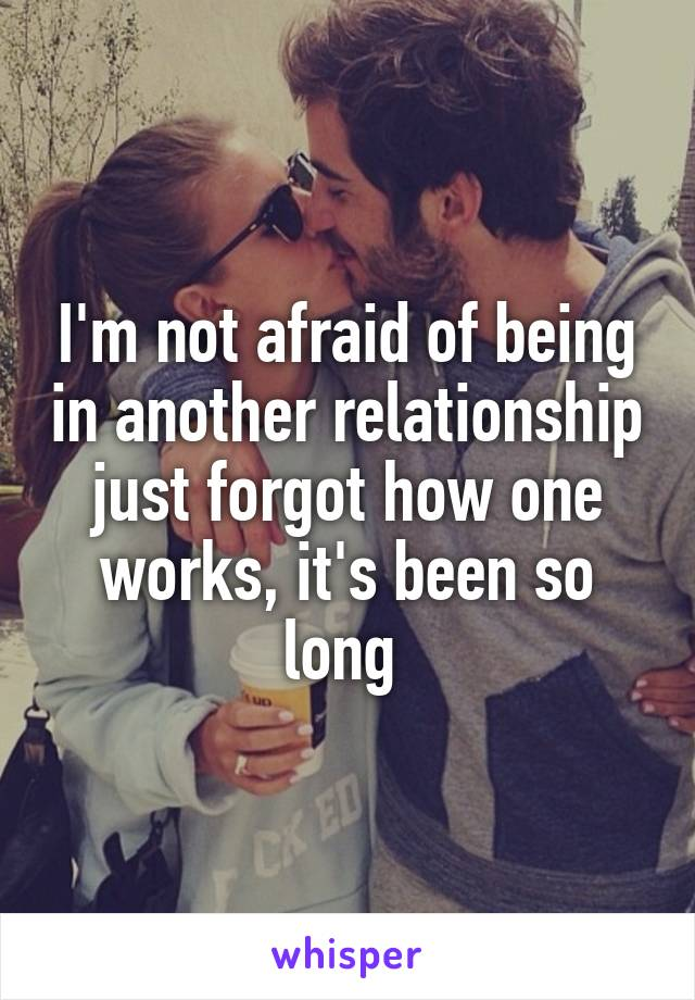 I'm not afraid of being in another relationship just forgot how one works, it's been so long