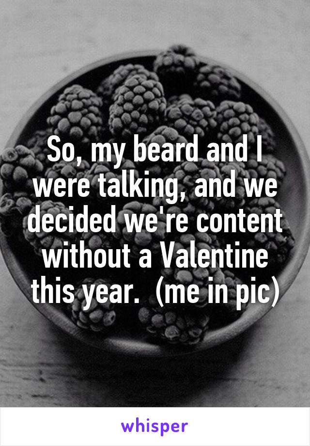 So, my beard and I were talking, and we decided we're content without a Valentine this year.  (me in pic)