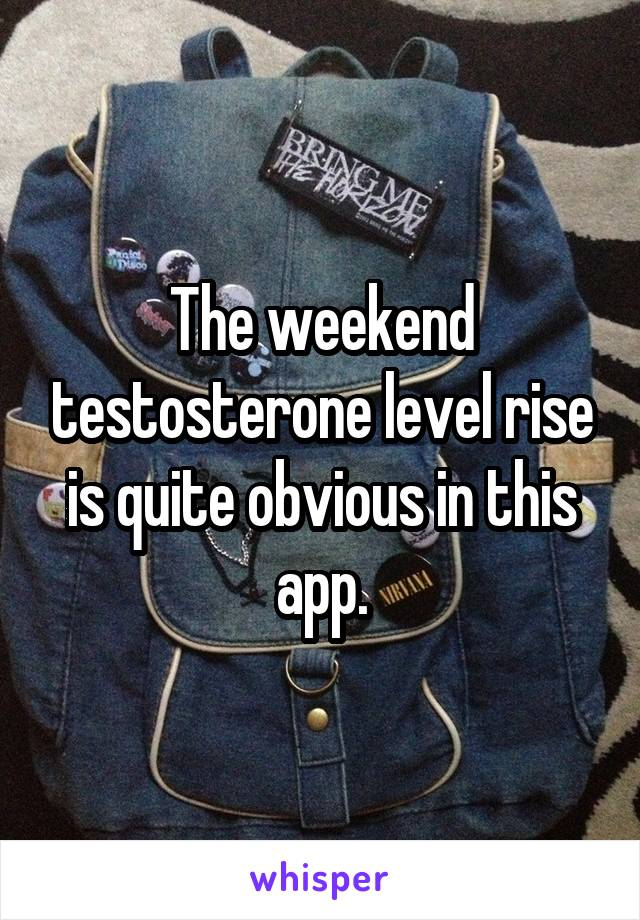 The weekend testosterone level rise is quite obvious in this app.