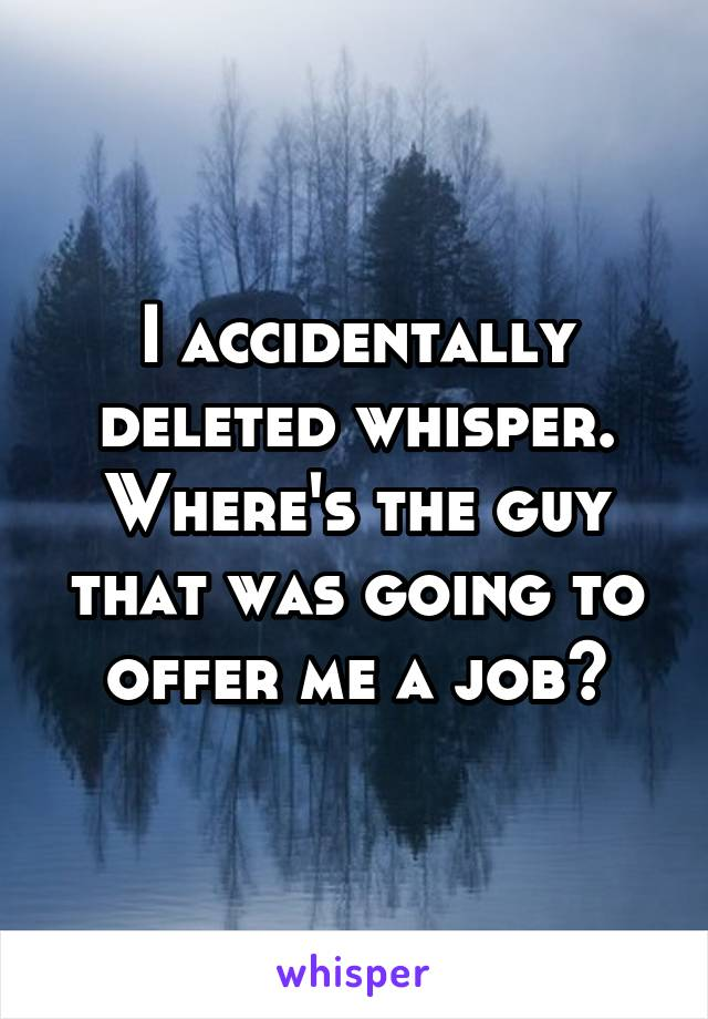 I accidentally deleted whisper. Where's the guy that was going to offer me a job?