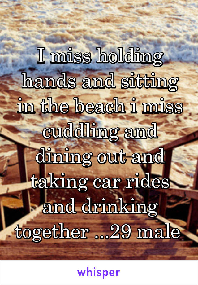 I miss holding hands and sitting in the beach i miss cuddling and dining out and taking car rides and drinking together ...29 male