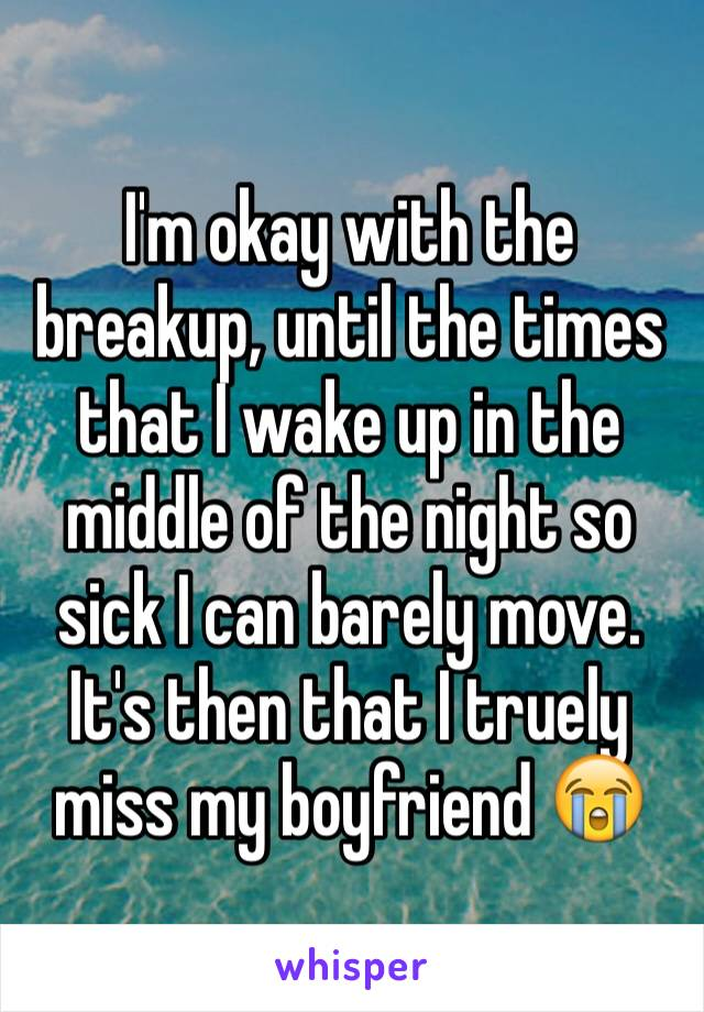 I'm okay with the breakup, until the times that I wake up in the middle of the night so sick I can barely move. It's then that I truely miss my boyfriend 😭