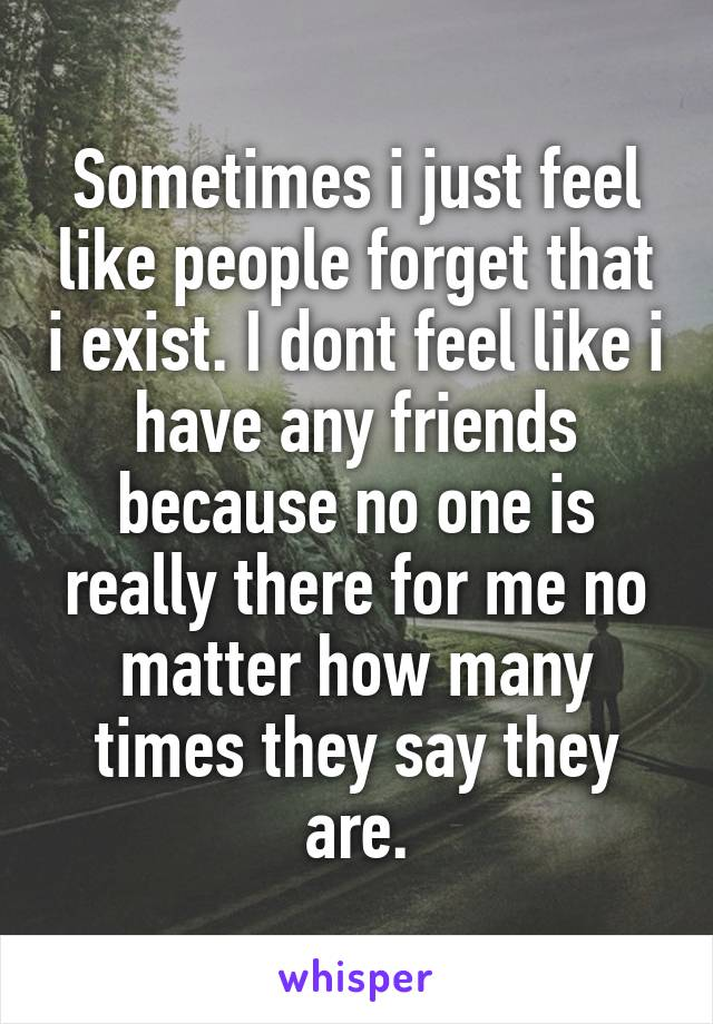 Sometimes i just feel like people forget that i exist. I dont feel like i have any friends because no one is really there for me no matter how many times they say they are.