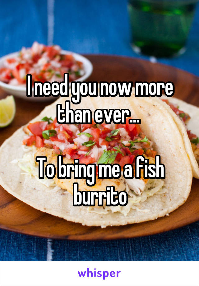 I need you now more than ever...   To bring me a fish burrito