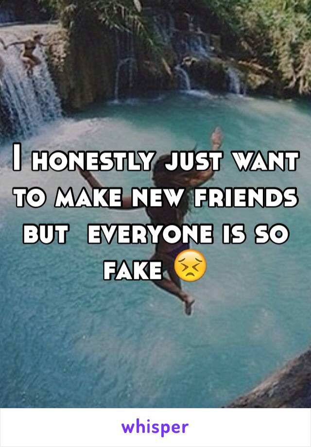 I honestly just want to make new friends but  everyone is so fake 😣