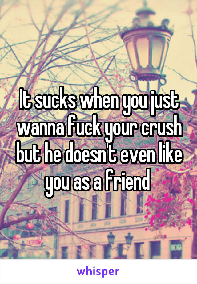 It sucks when you just wanna fuck your crush but he doesn't even like you as a friend