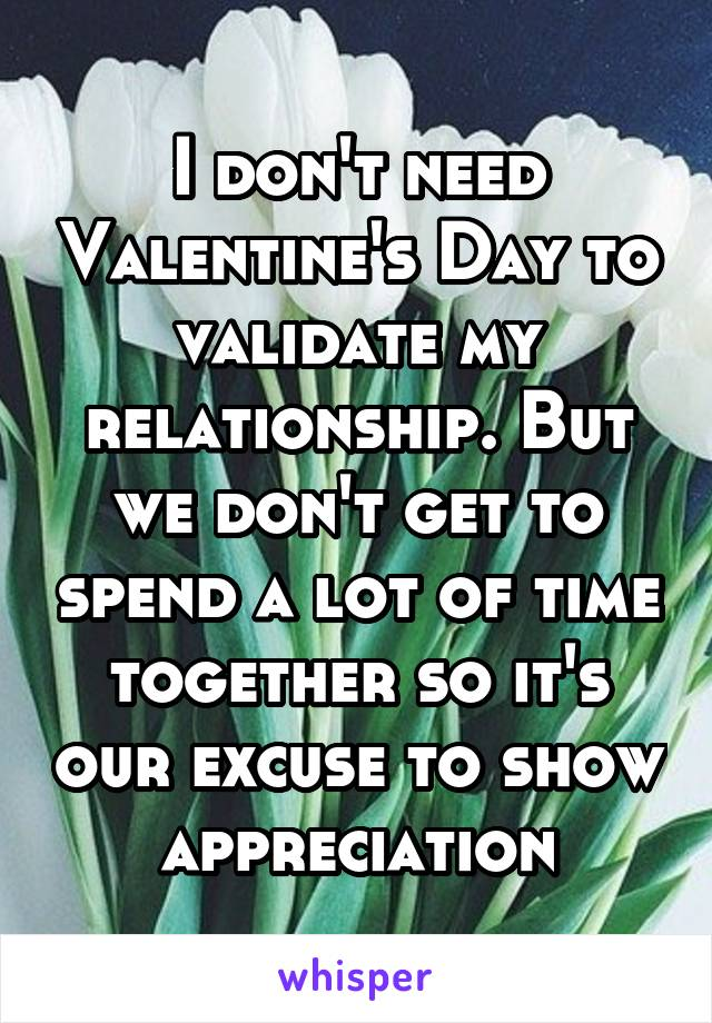 I don't need Valentine's Day to validate my relationship. But we don't get to spend a lot of time together so it's our excuse to show appreciation